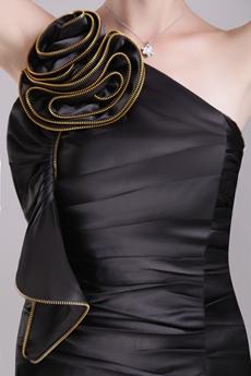 Mini Length One Shoulder Black Satin Party Dress