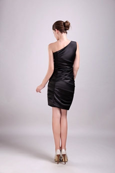 Mini Length One Shoulder Black Satin Party Dress