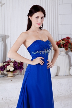 Graceful A-line Royal Blue Chiffon Formal Engagement Evening Dress