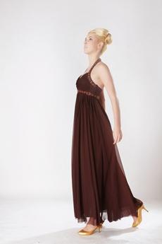 Ankle Length Chocolate Empire Graduation Dress