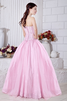 Beautiful Pink Sweet 15 Dress With Beaded Bodice