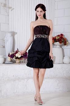 Modern Chocolate And Dark Navy Taffeta Junior Prom Dress