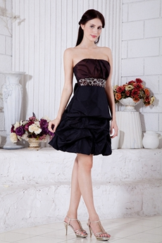 Modern Chocolate And Dark Navy Taffeta Junior Prom Dress