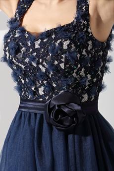 Keyhole Back Navy Blue Short Sweet 16 Dress