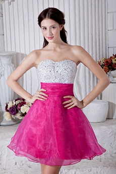 Adorable White & Fuchsia Sweet 16 Dress