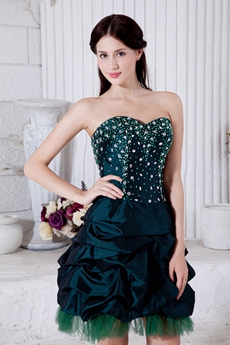 Mini Length Dark Green Taffeta Sweet Sixteen Dress With Beads