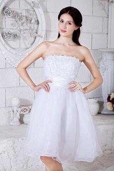 White Organza Mini Length Sweet 16 Dress