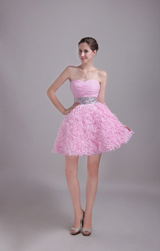 Adorable Mini Length Pink Sweet Sixteen Dress With Lace
