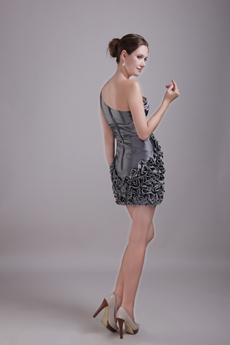 Mini Length Puffy Silver Sweet Sixteen Dress