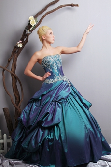 Exquisite Ball Gown Teal Taffeta Quinceanera Dress With Lace
