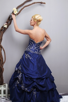 Luxury Dark Royal Blue Quinceanera Dress With Embroidery