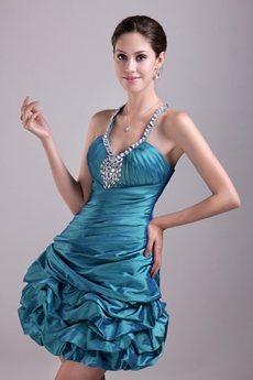Puffy Mini Length Teal Taffeta Sweet Sixteen Dress With Rhinestones