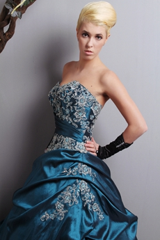 Sweetheart Ball Gown Teal Quinceanera Dress With Lace Appliques