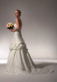 Gorgeous Embroidery Taffeta Wedding Dress Asymmetrical Waist
