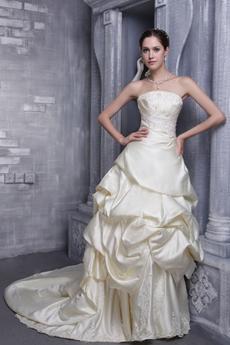 Modest Strapless Champagne Satin Wedding Dress Corset Back
