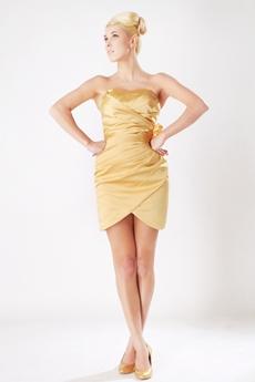 Sheath Mini Length Gold Wedding Guest Dress