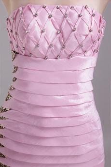 Pink And Leopard Taffeta Mini Length Wedding Guest Dress