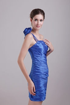 Modern One Straps Mini Length Royal Blue Wedding Guest Dress
