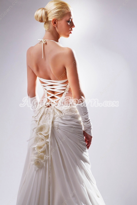 Sexy Halter Wedding Dress Illusion Waist
