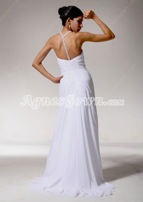 Stunning A-line White Chiffon Summer Beach Wedding Dress
