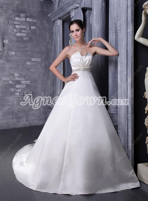 Cowl Neckline Satin Wedding Dress With Handmade Flowers