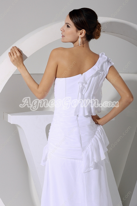 Sexy One Shoulder White Chiffon Summer Wedding Dress