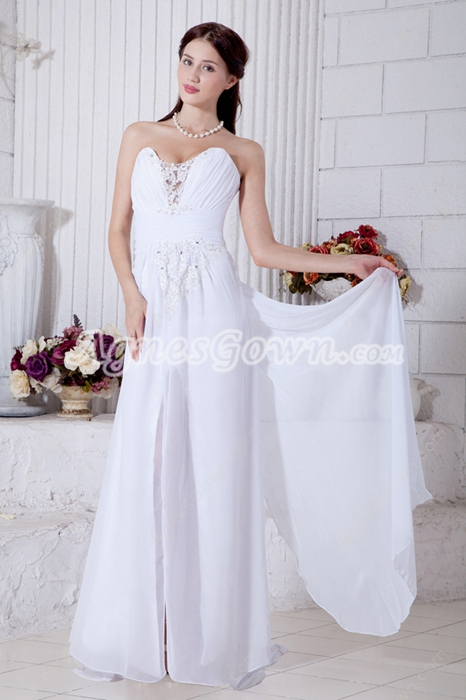 Romantic High Slit Summer Chiffon Beach Wedding Dress