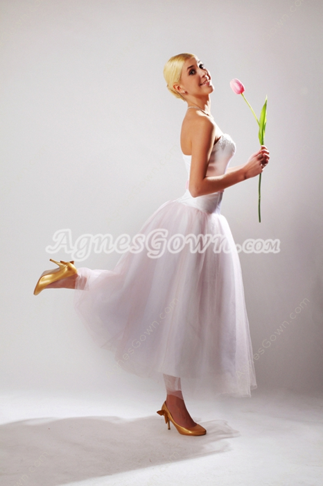 A-Line Tea Length Beach Wedding Dress With Pink Sash