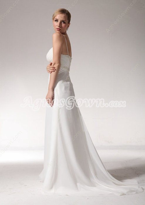 Delicate Chiffon Summer Beach Wedding Dress With Beads