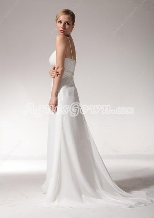 Delicate Chiffon Summer Beach Wedding Dress With Beads