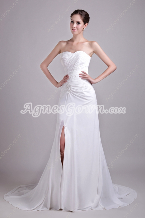 Front Slit Chiffon Summer Beach Wedding Dress
