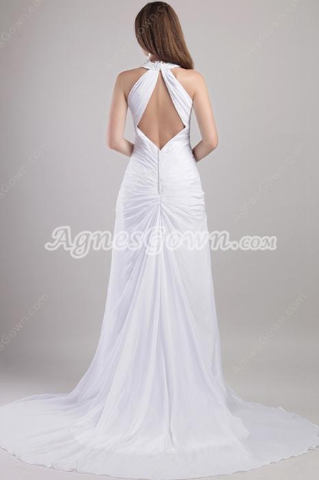 Front Keyhole A-line White Chiffon Summer Wedding Dress