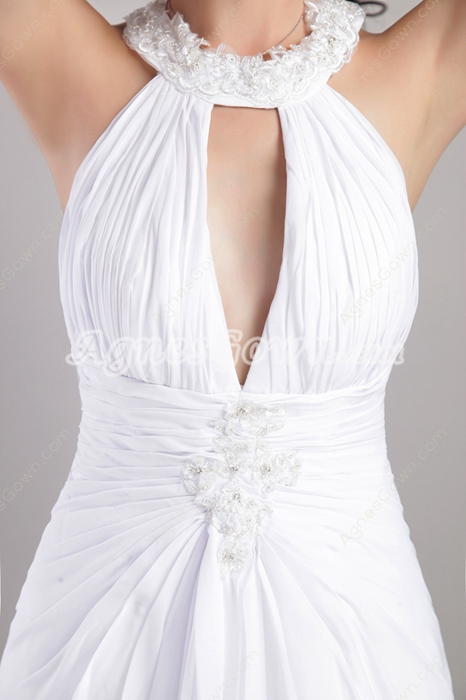 Front Keyhole A-line White Chiffon Summer Wedding Dress