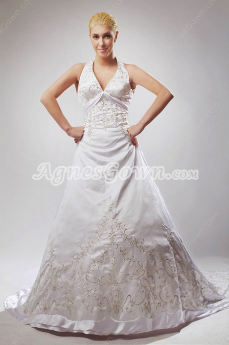 Stunning Halter White Wedding Dress With Gold Embroidery
