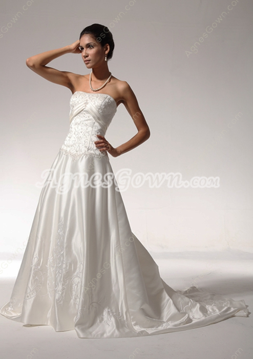 Classy A-line Embroidery Satin Wedding Dress