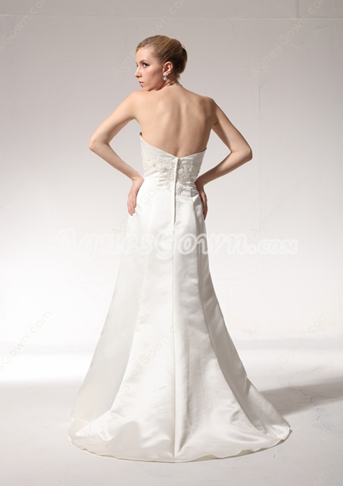 Affordable A-line Satin Wedding Dress With Appliques