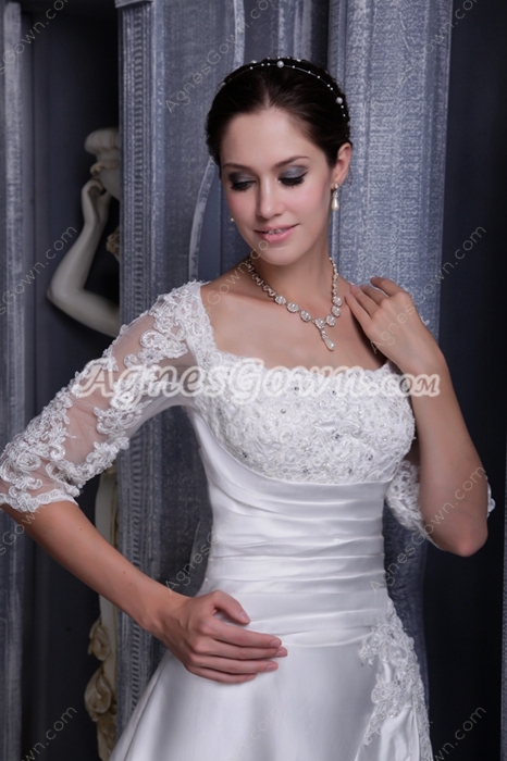 Half Sleeves A-line Winter Wedding Dress