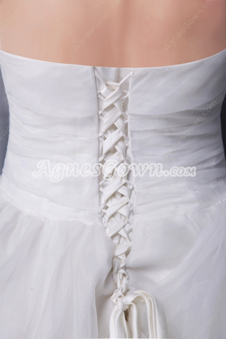 Pretty Strapless Princess Wedding Dress Corset Back