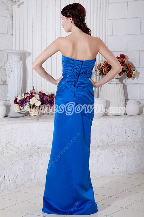 Discount A-line Royal Blue Satin Bridesmaid Dress