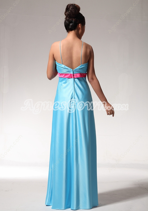 Sassy Blue Satin Graduation Dress With Fuchsia Sash
