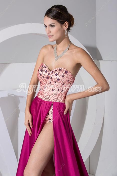 Fashionable Fuchsia Celebrity Evening Dress With Beads