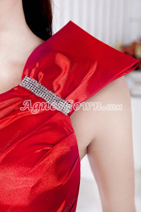 Sheath Full Length Red Satin Formal Evening Gown
