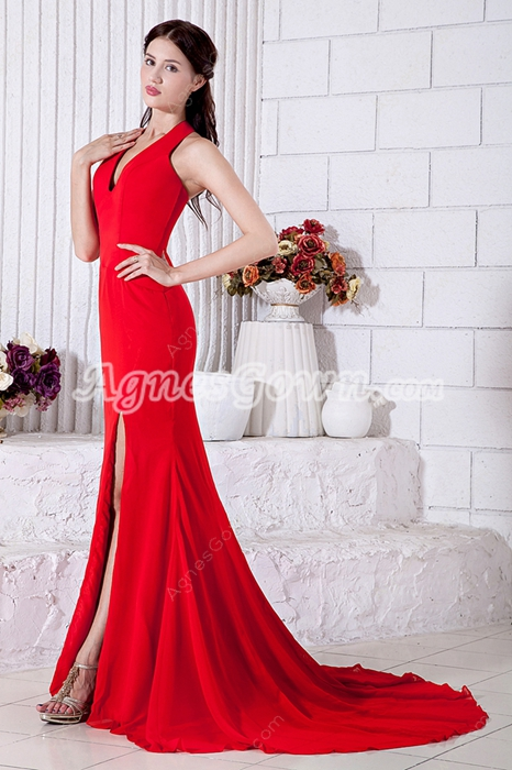 Glamour Sheath Halter Red Formal Evening Dress High Slit