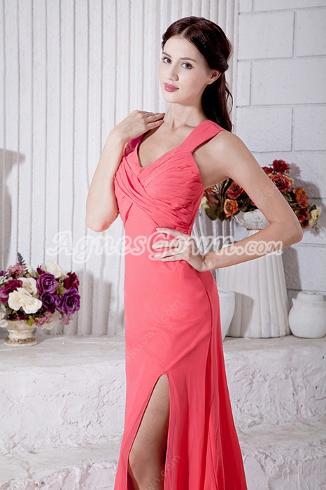 High Slit Watermelon Chiffon Engagement Evening Dress