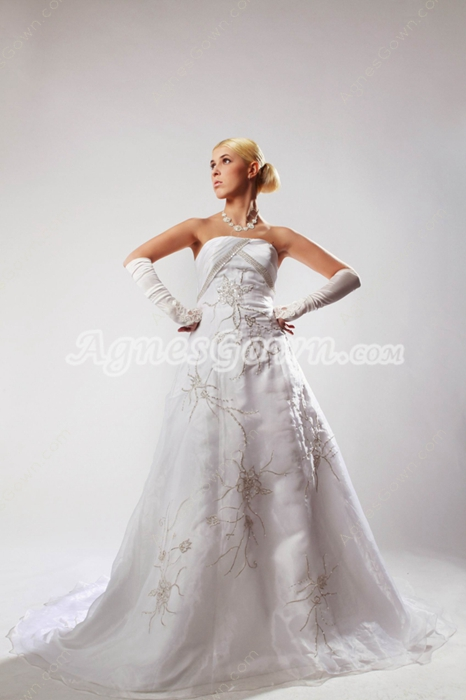 Exquisite Embroidery Beads Wedding Dress