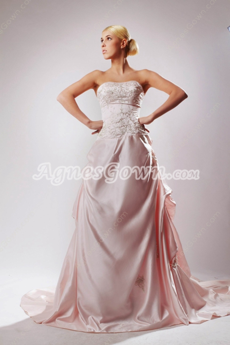 Pretty Dipped Neckline Pink Mature Wedding Dress With Embroidery