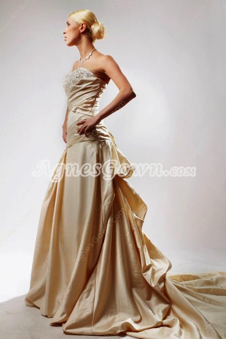Retro A-line Champagne Satin Wedding Dress Dropped Waist