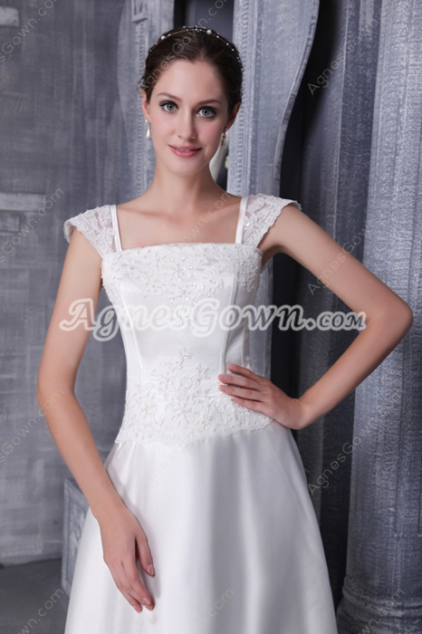 Exquisite Straps A-line Satin Wedding Dress With Lace Appliques