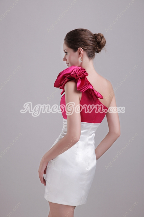 Modern Mini Length White & Fuchsia Satin Wedding Guest Dress