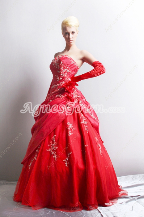 Attractive Red Taffeta Sweet 15 Dress With Appliques